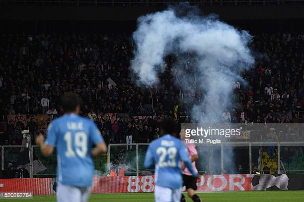 PALERMO ITALY APRIL firecrackers are thrown during the Serie A match between US Citta di Palermo and SS Lazio at Stadio Renzo Barbera on April 10...