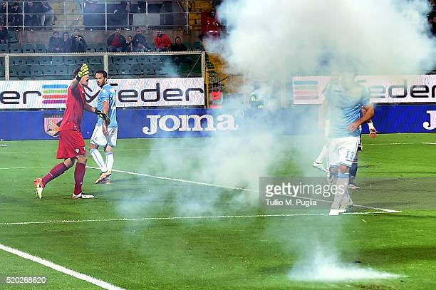firecrackers are thrown during the Serie A match between US Citta di Palermo and SS Lazio at Stadio Renzo Barbera on April 10 2016 in Palermo Italy