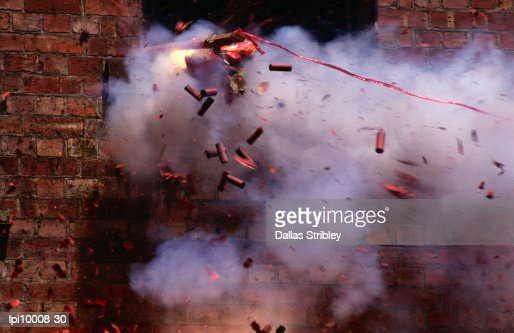 Firecrackers explode during celebrations for Chinese New Year in Chinatown, Melbourne,Victoria,Australia,Australasia : Stock Photo