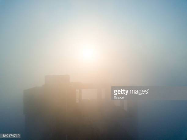 Fuzhou, China - January 28, 2017: Firecrackers for celebrating the Chinese New Year and cost a lot of dust and haze pollution.
