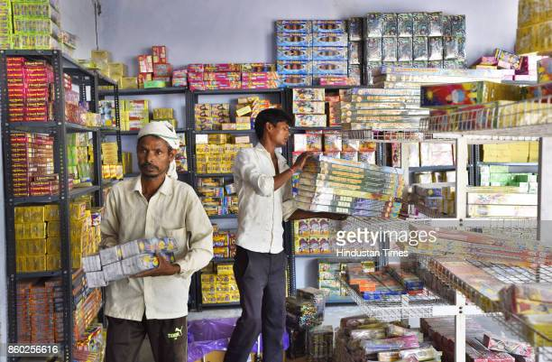 Firecrackers godown at Pataudi on October 11 2017 in Gurgaon India The Supreme Court has banned the sale of firecrackers in DelhiNCR till November 1
