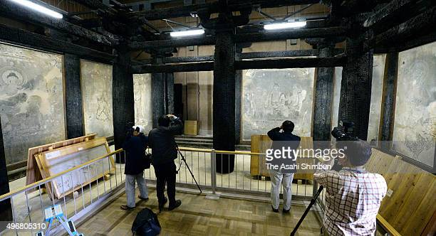 Firedamaged murals are open to media at Horyuji Temple on November 11 2015 in Ikaruga Nara Japan The famed Horyuji temple said it is finally able to...