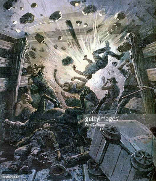 A firedamp explosion in a French coal mine France 1892 A print from a supplement to the Le Petit Journal 2nd April 1892