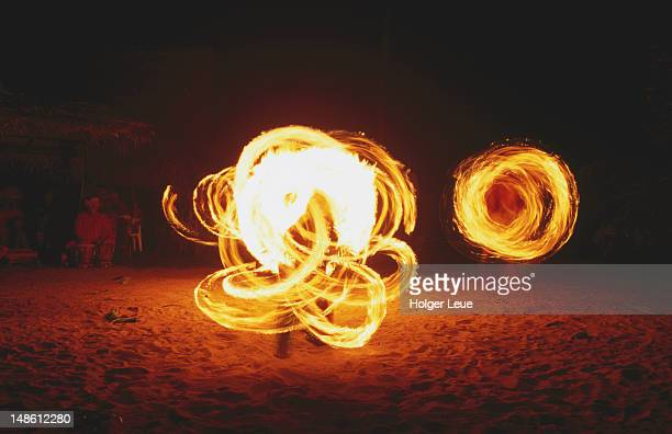 Firedancing performance, Tiki theatre village.