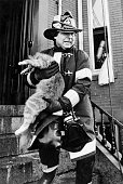 A firefighter carries a cat out of 39 Princeton St in East Boston Mass on March 4 1980 Six of seven cats in the building survived the very smoky fire