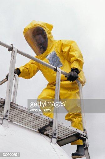Firefighter Climbing Scaffolding