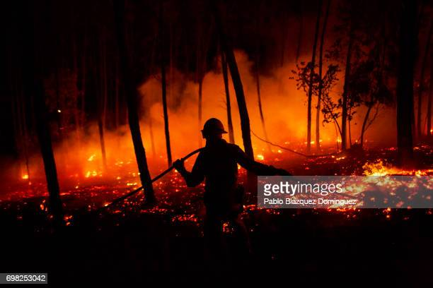 A firefighter from the National Republican Guard GIPS works on a fire in a forest after a wildfire took dozens of lives on June 19 2017 near Pedrogao...