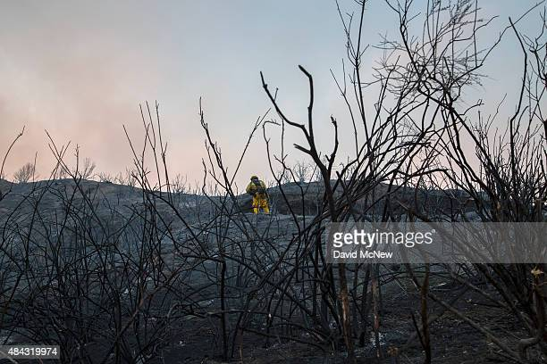 A firefighter holding a hose stands in a scorched landscape at the Warm Fire on August 16 2015 in the Angeles National Forest north of Castaic...