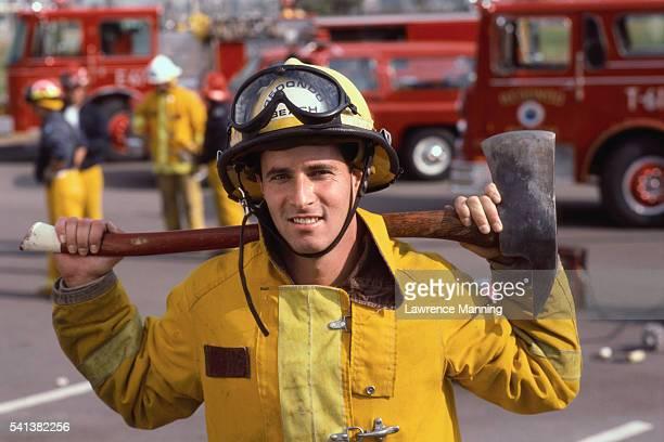 Firefighter Holding an Axe
