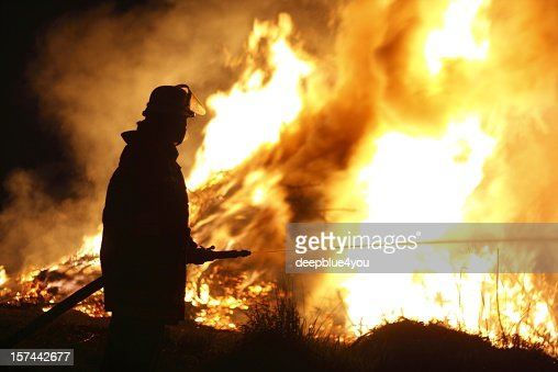 firefighter inferno at night