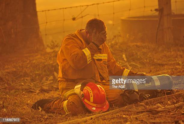 A firefighter in Bunyip State Park Bushfire rages out of control from the Bunyip State Park towards the townships of Labortouche and Tonimbuk