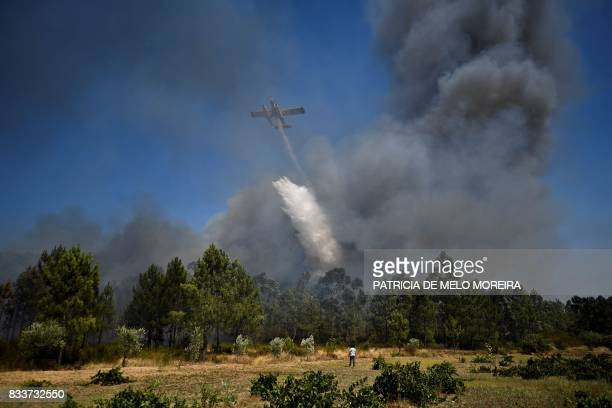 TOPSHOT A firefighter plane drops water in a wildfire at Macao on August 17 2017 / AFP PHOTO / PATRICIA DE MELO MOREIRA