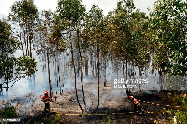 A firefighter pulls a hose as they combat a wildfire in Vale da Ponte Pedrograo Grande on June 20 2017 The huge forest fire that erupted on June 17...