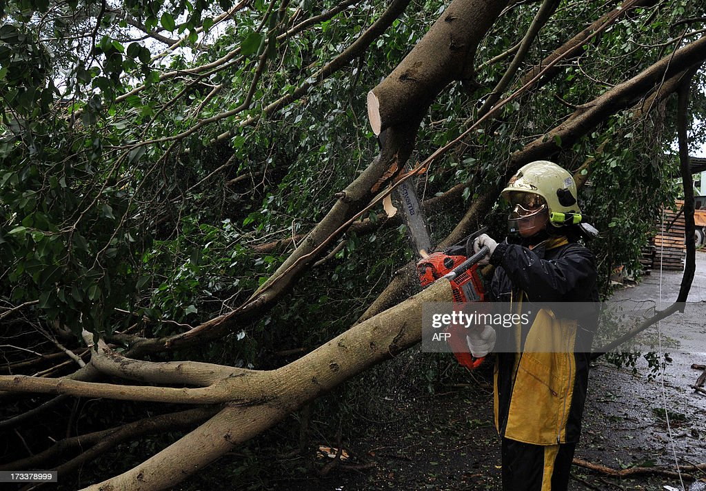 A firefighter saws a damaged tree beside caused by typhoon Soulik in Taipei on early July 13, 2013. Thousands of people were evacuated in Taiwan and the entire island declared an 'alert zone' as Typhoon Soulik made landfall early morning, killing one person and injuring seven. AFP PHOTO / Mandy CHENG