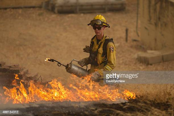 A firefighter sets a backfire near Mountain Ranch Road at the Butte Fire on September 13 2015 near San Andreas California California governor Jerry...