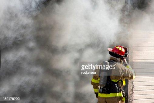 Firefighter Talking on Radio