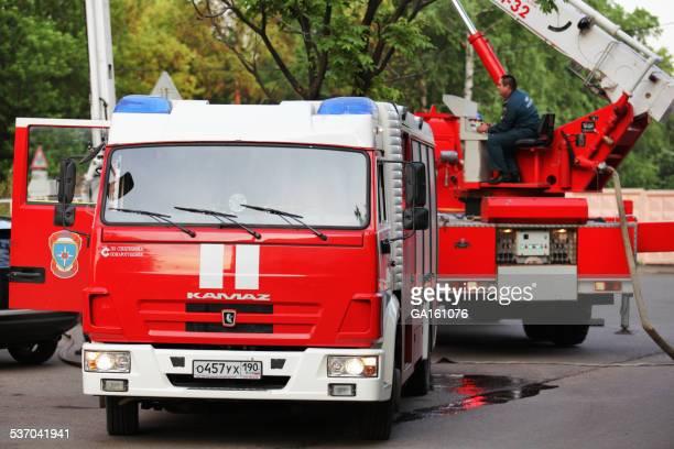 Feuerwehrmann LKWs KAMAZ für Brandeindämmung und Rettungsarbeiten