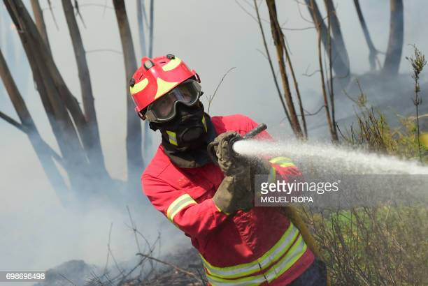 A firefighter uses a hose to combat a wildfire in Vale da Ponte Pedrograo Grande on June 20 2017 The huge forest fire that erupted on June 17 2017 in...