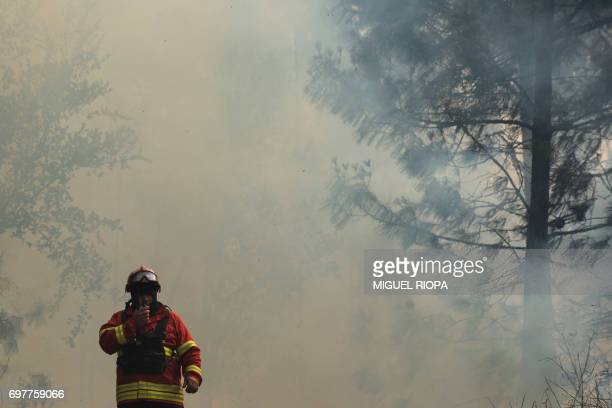 A firefighter uses his walkietalkie as he works to extinguish a wildfire in Carvalho next to Pampilhosa da Serra on June 19 2017 More than 1000...