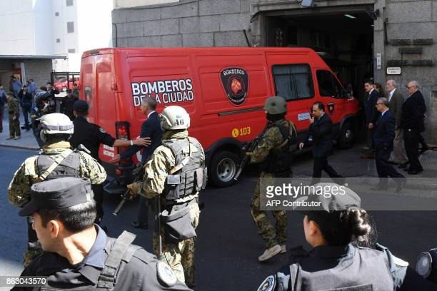 A firefighter van carrying the body thought to be of missing activist Santiago Maldonado who disappeared two months ago during a police operation...