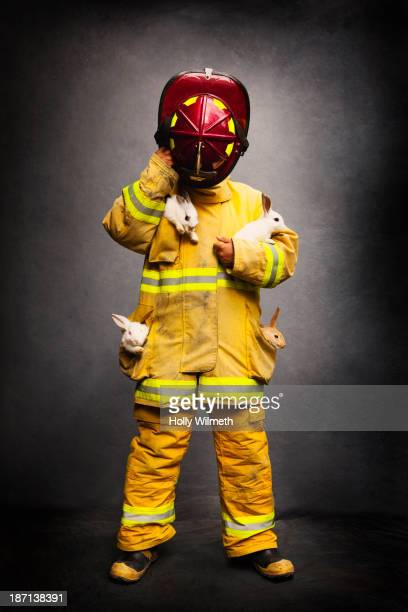 Firefighter wearing protective gear