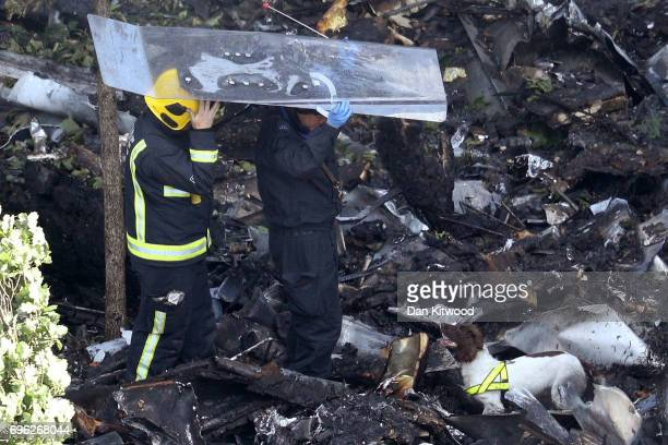 Firefighters and sniffer dogs inspect debris at the foot of Grenfell Tower on June 15 2017 in London England At least 17 people have been confirmed...