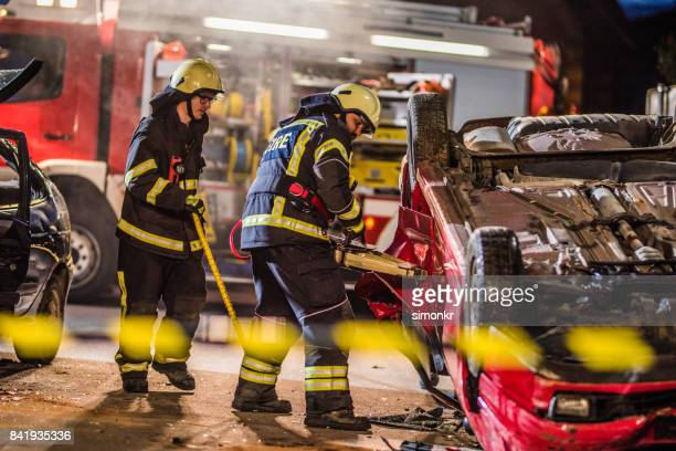 Firefighters at accident'n