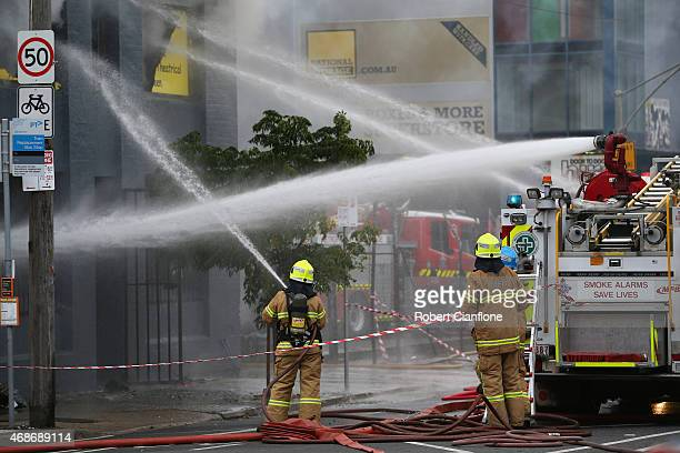 Firefighters battle a factory fire in the suburb of Kensington on April 6 2015 in Melbourne Australia Emergency services battled a factory fire at...