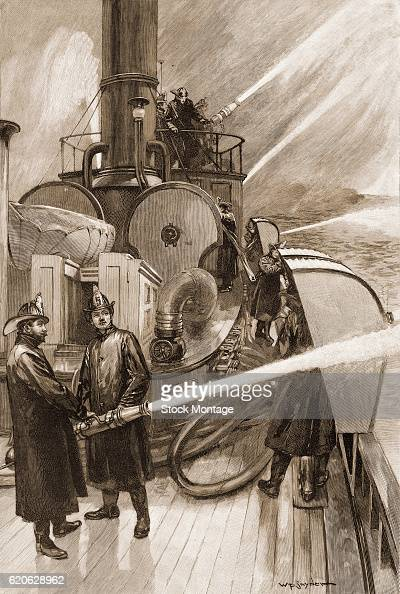 Firefighters demonstrate some of the capabilities of the fire department's 'New Yorker' boat New York New York 1891 The illustration appeared an...