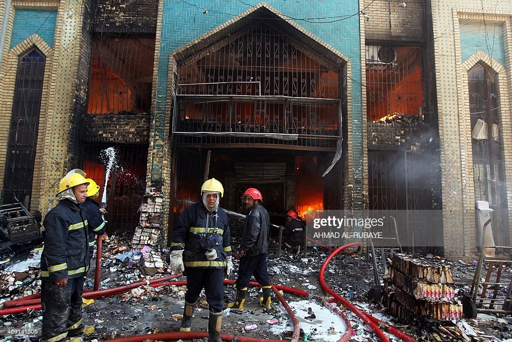 Firefighters extinguish fire from Baghdad's historic Shorjah market, which dates to the Abbassid era over 700 years ago, after it was hit by two bomb blasts on February 13, 2014 killing at least two people and wounding at least 11. Violence in Iraq has reached a level not seen since 2008, when it was just emerging from a period of brutal sectarian killings.
