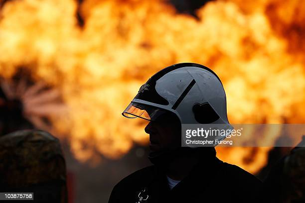 Firefighters from Merseyside Fire Brigade tackle a simulated gas explosion as they take part in the UK's biggest ever rescue exercise on September 7...
