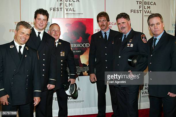 Firefighters Glen Burube William Flaherty Bob Chuisano Ritchie Schmitt Shawn Ashe and Tommy Burke arrive at the 'Brotherhood' screening during the...