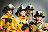 Firefighters in protective clothing