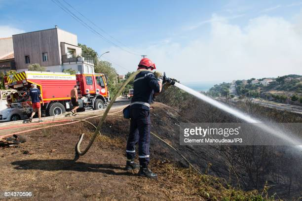 Firefighters intervene to extinguish the fires in the South of France and to help the population on July 26 2017 in Martigues France Since July 24...