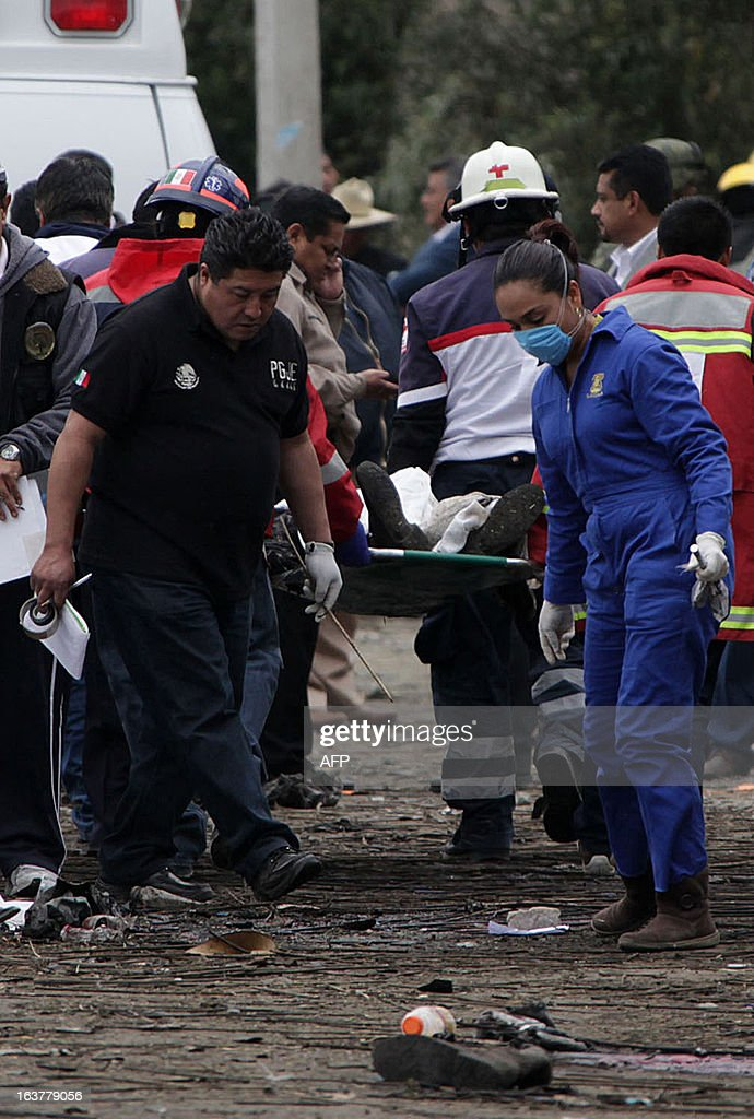 Firefighters, investigators and forensic personnel carry the corpse of one of at least eleven victims of an explosion in Jesusito Nativitas, Tlaxcala, Mexico, on March 15, 2013. A small truck loaded with fireworks for a religious event exploded in central Mexico on Friday, killing at least eleven and injuring dozens, with one witness saying he saw 'bodies flying' as people ran for cover. AFP PHOTO/ Jose CASTANARES