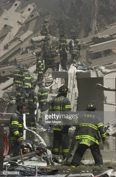Firefighters search for survivors after the collapse of the World Trade Center on Sept 11 2001