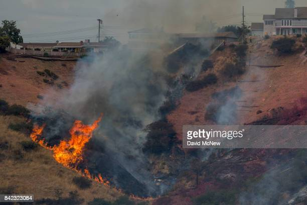 Firefighters spray water from houses that had previously been dowsed with red PhosChek fire retardant as a spot fire erupts below them during the La...