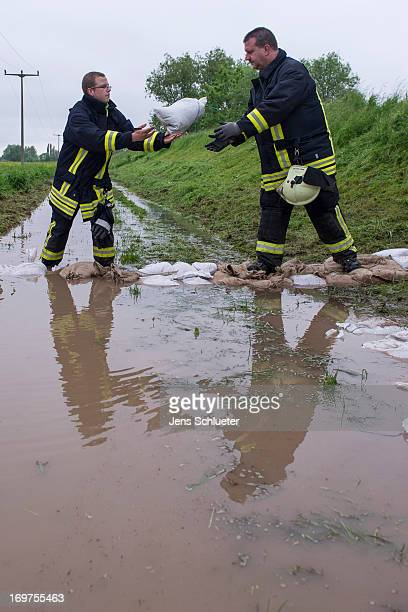 Firefighters stack sandbags at the base of a dyke to strengthen it against the rising Gera river and to prevent flooding on June 1 2013 near...