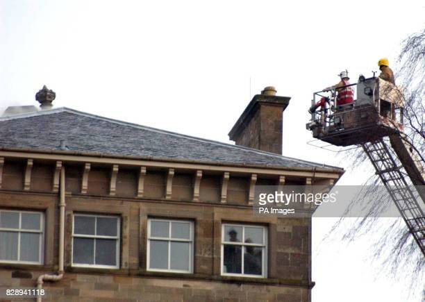 Firefighters tackle a blaze believed to have broken out on the third floor of the historic Dunblane Hydro in Stirlingshire The blaze rapidly spread...