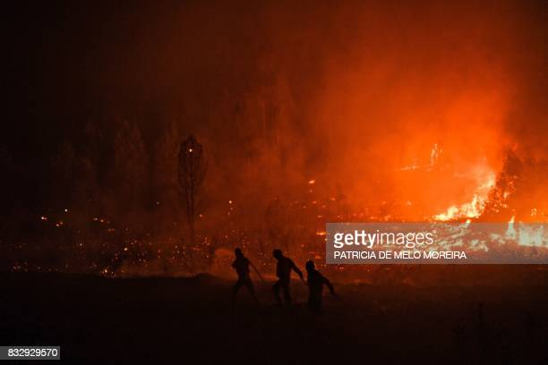 TOPSHOT Firefighters tackle a wildfire at Vale de Abelha village in Macao on August 16 2017 / AFP PHOTO / PATRICIA DE MELO MOREIRA