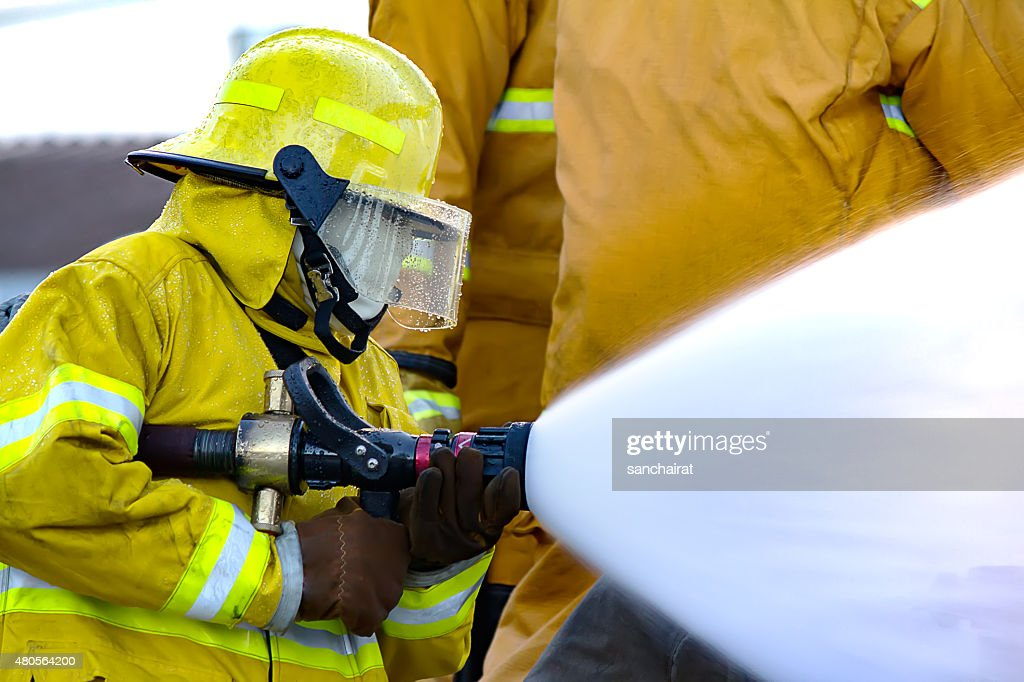 Firefighters training : Stock Photo