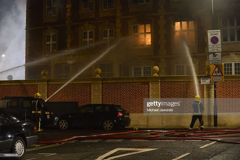 Firefighters try to extinguish a fire which has been ablaze since around midnight from a building under renovation in Moscow Road, Notting Hill on January 5, 2013 in London, England. It is thought that nobody was inside the building.