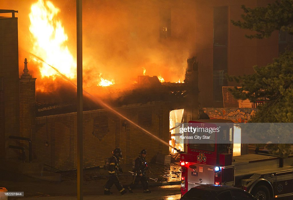 Firefighters were on the scene of a gas explosion and 3-alarm fire Tuesday night, February 19, 2013 at JJ's restaurant at the Country Club Plaza in Kansas City, Missouri.