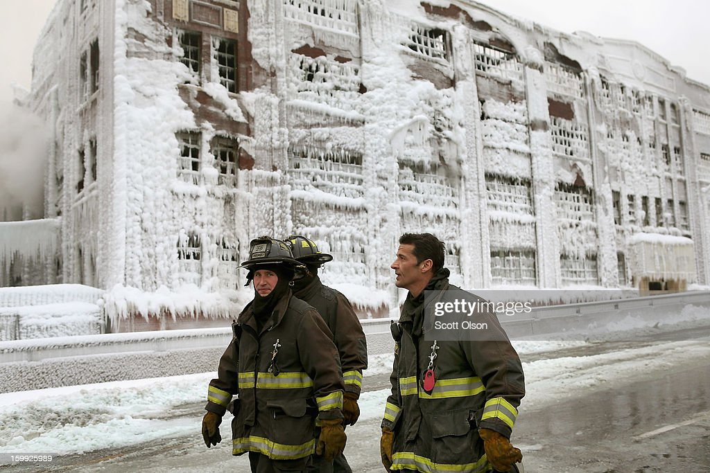 Firefighters work to extinguish a massive blaze at a vacant warehouse on January 23, 2013 in Chicago, Illinois. More than 200 firefighters battled a five-alarm fire as temperatures were in the single digits.