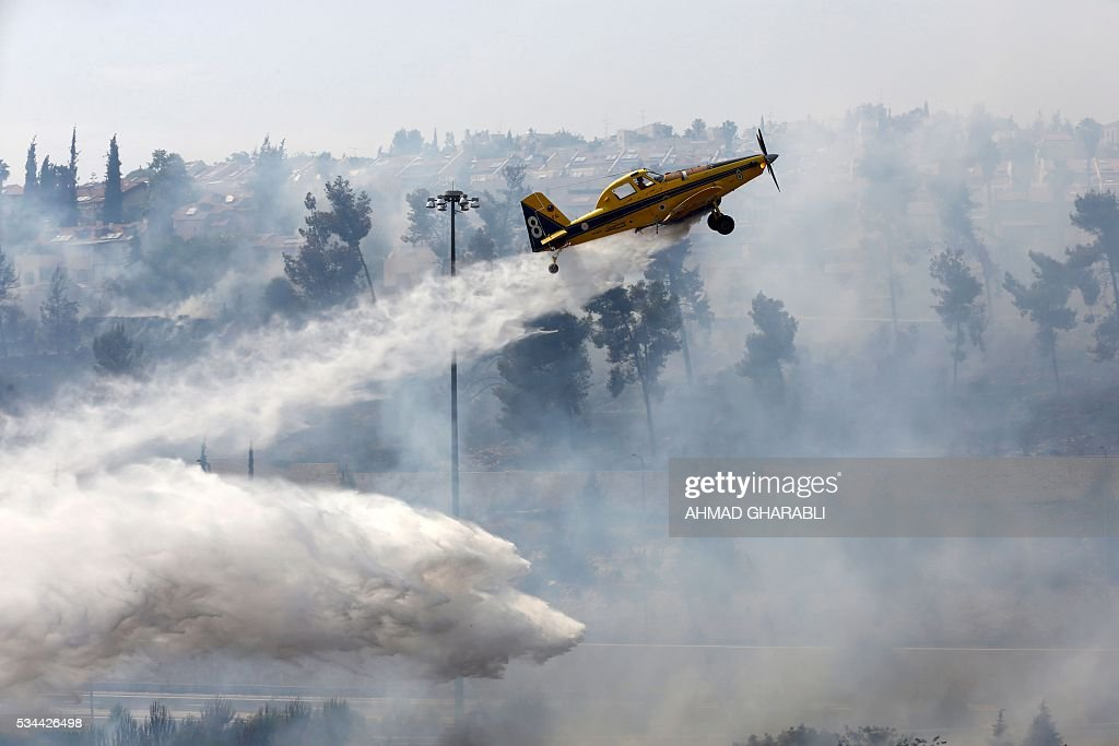 Firefighters work to put out a fire that is spreading in the woods around Jerusalem on May 26, 2016 / AFP / AHMAD