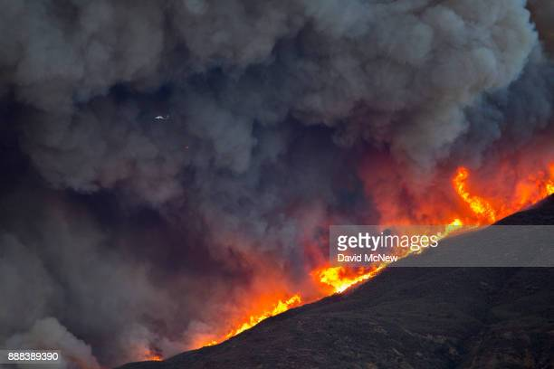 A firefighting helicopter is dwarfed by smoke and flames during Thomas Fire on December 7 2017 near Fillmore California Strong Santa Ana winds are...