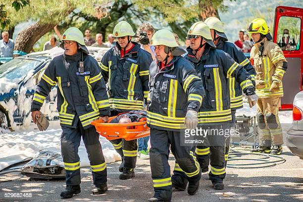 Brandschutzmaßnahmen und Feuerwehr, die Suche und Rettung Intensität demonstration