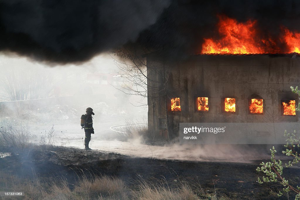 Fireman and Fire : Stock Photo