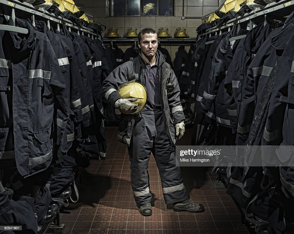 Fireman at Fire Station : Stock Photo