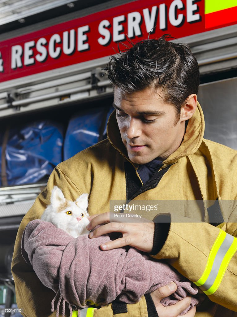 Fireman holding rescued cat, close-up : Stock Photo